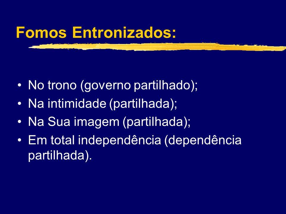 Fomos Entronizados: No trono (governo partilhado); Na intimidade (partilhada); Na Sua imagem (partilhada); Em total independência (dependência partilhada).