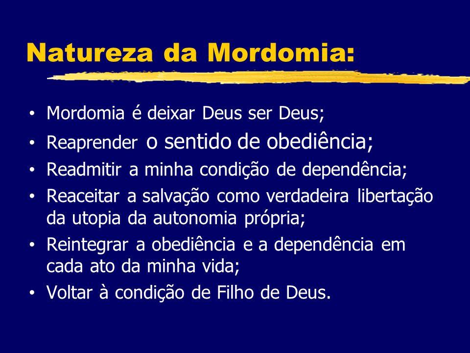 Natureza da Mordomia: Mordomia é deixar Deus ser Deus; Reaprender o sentido de obediência; Readmitir a minha condição de dependência; Reaceitar a salvação como verdadeira libertação da utopia da autonomia própria; Reintegrar a obediência e a dependência em cada ato da minha vida; Voltar à condição de Filho de Deus.