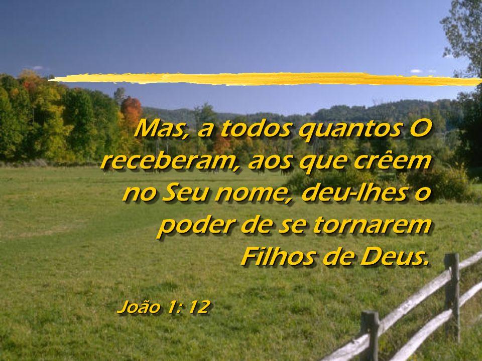 João 1: 12 Mas, a todos quantos O receberam, aos que crêem no Seu nome, deu-lhes o poder de se tornarem Filhos de Deus.