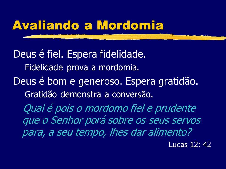 Avaliando a Mordomia Deus é fiel.Espera fidelidade.