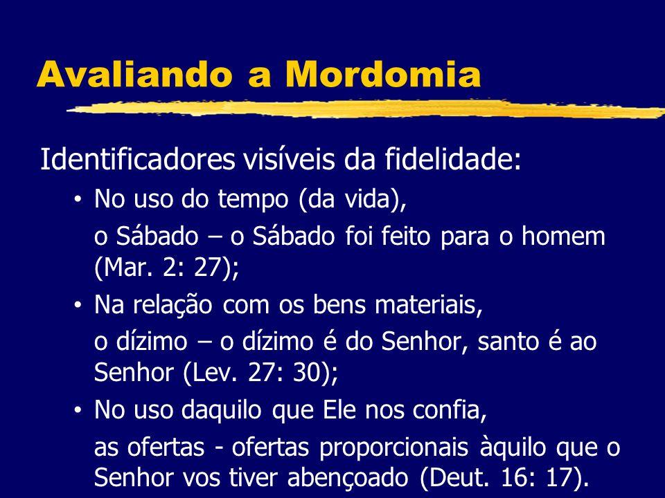 Avaliando a Mordomia Identificadores visíveis da fidelidade: No uso do tempo (da vida), o Sábado – o Sábado foi feito para o homem (Mar.