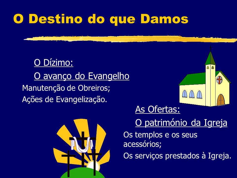 O Destino do que Damos O Dízimo: O avanço do Evangelho Manutenção de Obreiros; Ações de Evangelização.
