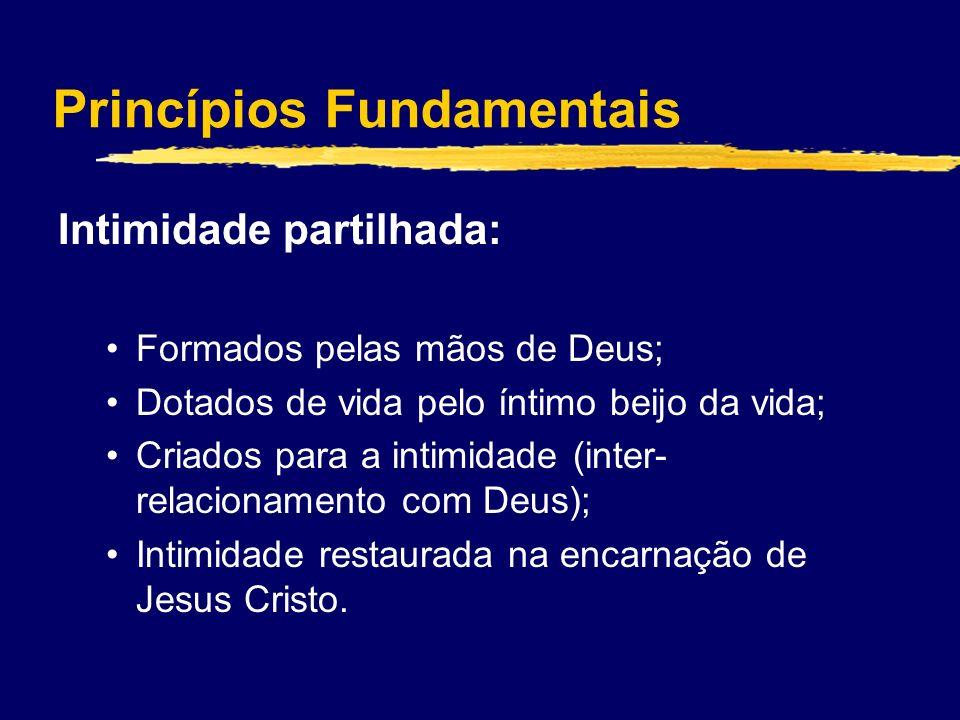 Princípios Fundamentais Intimidade partilhada: Formados pelas mãos de Deus; Dotados de vida pelo íntimo beijo da vida; Criados para a intimidade (inter- relacionamento com Deus); Intimidade restaurada na encarnação de Jesus Cristo.