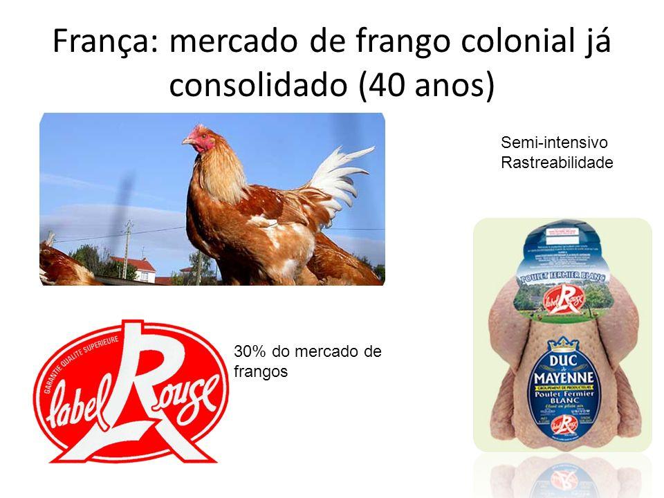 França: mercado de frango colonial já consolidado (40 anos) Semi-intensivo Rastreabilidade 30% do mercado de frangos