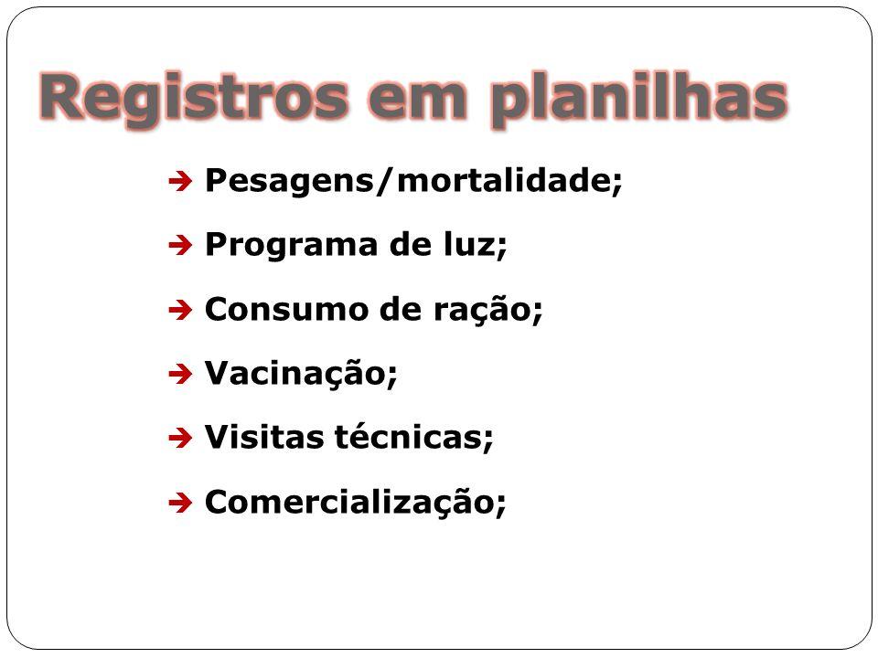 Pesagens/mortalidade; Programa de luz; Consumo de ração; Vacinação; Visitas técnicas; Comercialização;