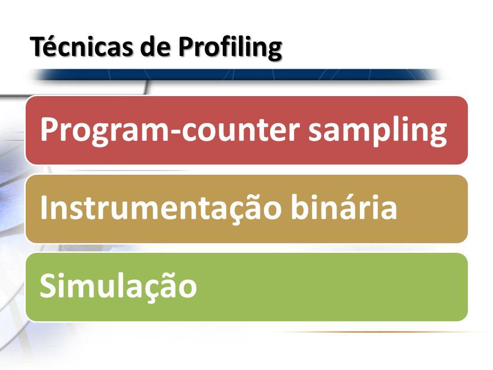 Técnicas de Profiling Program-counter samplingInstrumentação bináriaSimulação