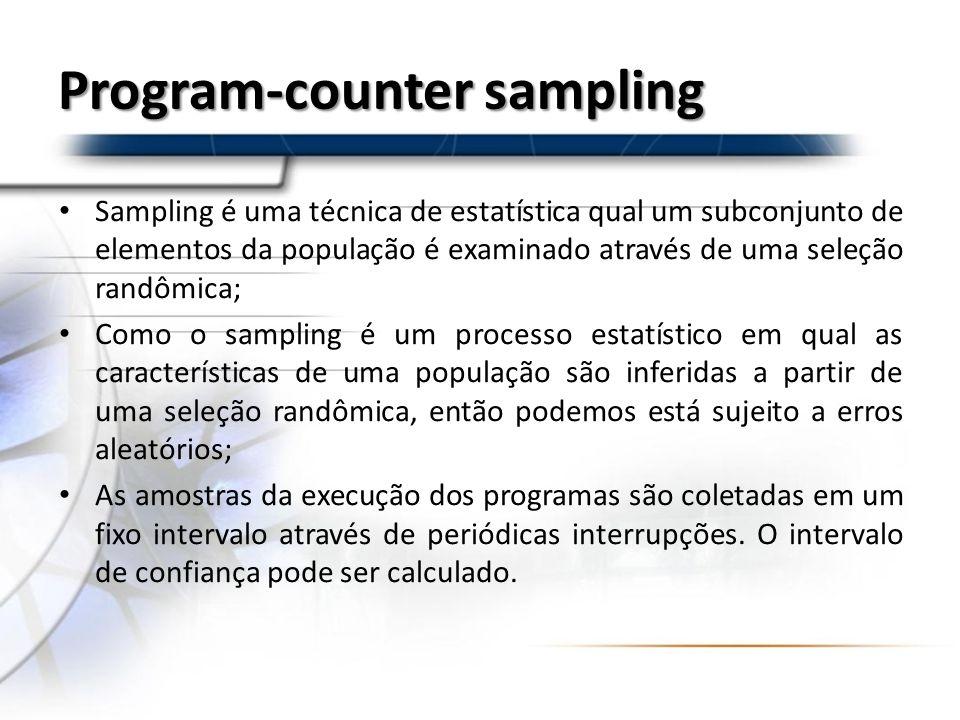 Program-counter sampling Sampling é uma técnica de estatística qual um subconjunto de elementos da população é examinado através de uma seleção randôm