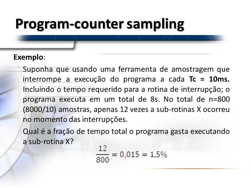 Exemplo: Suponha que usando uma ferramenta de amostragem que interrompe a execução do programa a cada Tc = 10ms. Incluindo o tempo requerido para a ro