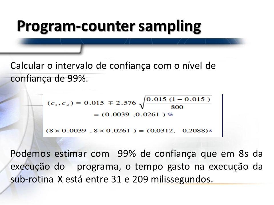Program-counter sampling Calcular o intervalo de confiança com o nível de confiança de 99%. Podemos estimar com 99% de confiança que em 8s da execução