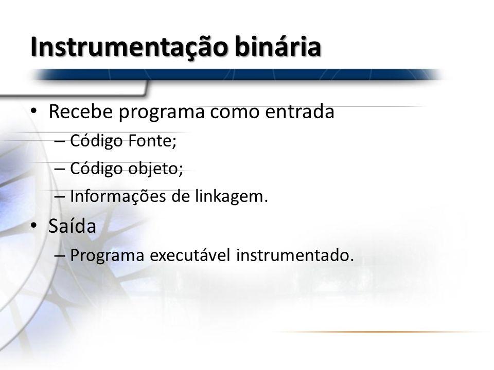 Instrumentação binária Recebe programa como entrada – Código Fonte; – Código objeto; – Informações de linkagem. Saída – Programa executável instrument