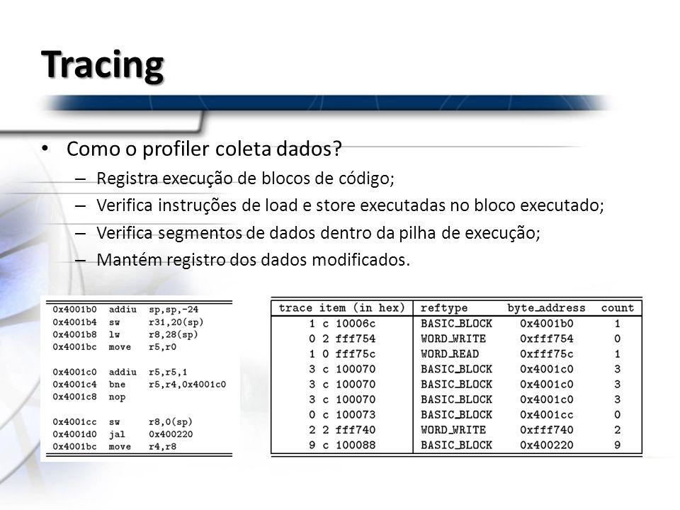 Tracing Como o profiler coleta dados? – Registra execução de blocos de código; – Verifica instruções de load e store executadas no bloco executado; –