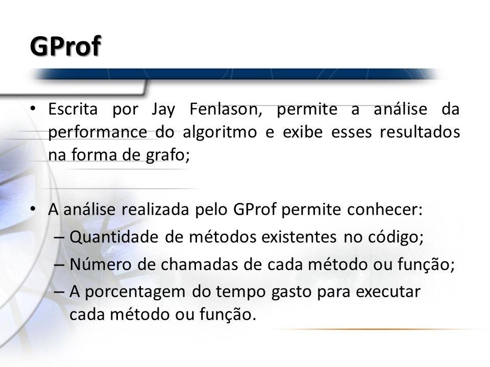 GProf Escrita por Jay Fenlason, permite a análise da performance do algoritmo e exibe esses resultados na forma de grafo; A análise realizada pelo GPr