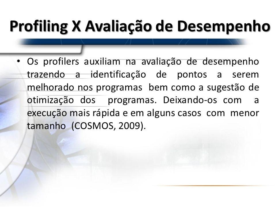 Profiling X Avaliação de Desempenho Os profilers auxiliam na avaliação de desempenho trazendo a identificação de pontos a serem melhorado nos programa