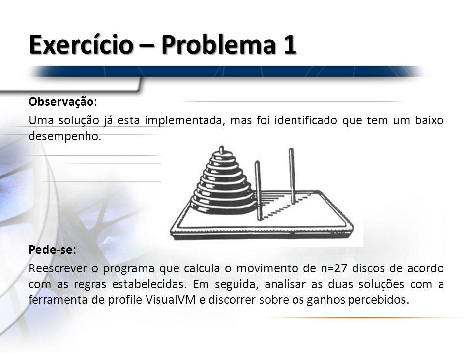 Exercício – Problema 1 Observação: Uma solução já esta implementada, mas foi identificado que tem um baixo desempenho. Pede-se: Reescrever o programa