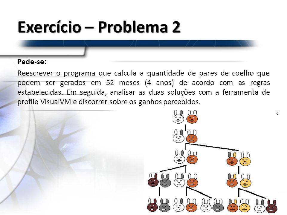 Exercício – Problema 2 Pede-se: Reescrever o programa que calcula a quantidade de pares de coelho que podem ser gerados em 52 meses (4 anos) de acordo