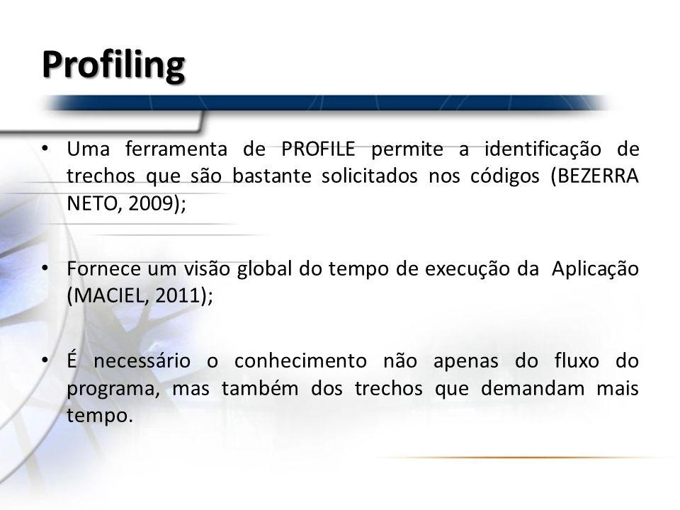 Profiling Uma ferramenta de PROFILE permite a identificação de trechos que são bastante solicitados nos códigos (BEZERRA NETO, 2009); Fornece um visão