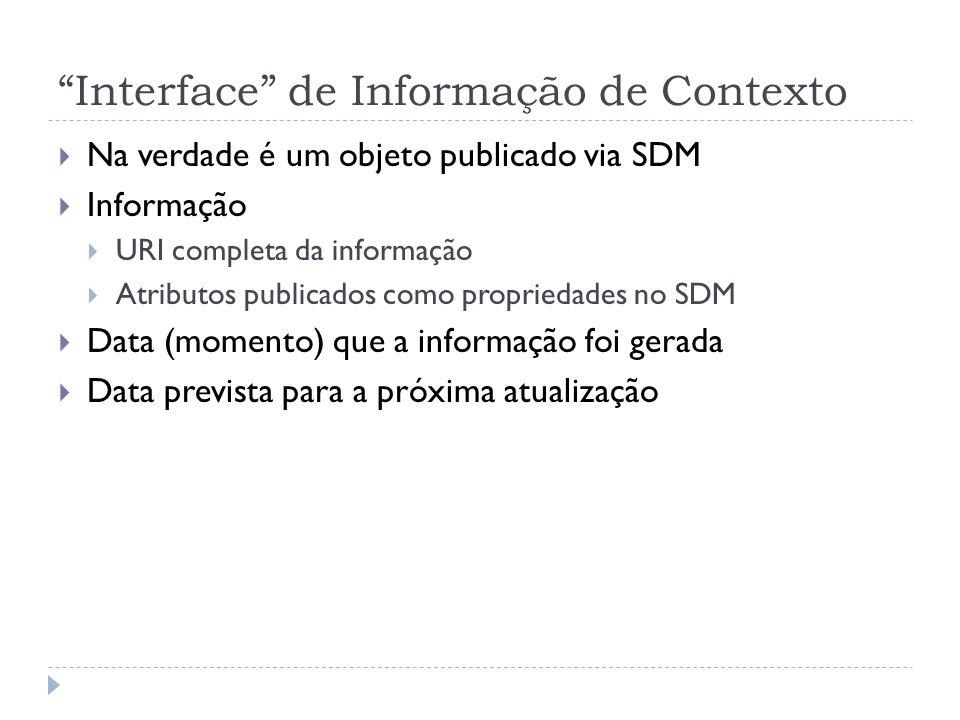Interface de Informação de Contexto Na verdade é um objeto publicado via SDM Informação URI completa da informação Atributos publicados como propriedades no SDM Data (momento) que a informação foi gerada Data prevista para a próxima atualização