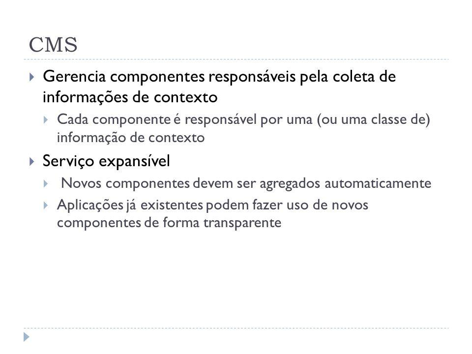 CMS Gerencia componentes responsáveis pela coleta de informações de contexto Cada componente é responsável por uma (ou uma classe de) informação de contexto Serviço expansível Novos componentes devem ser agregados automaticamente Aplicações já existentes podem fazer uso de novos componentes de forma transparente