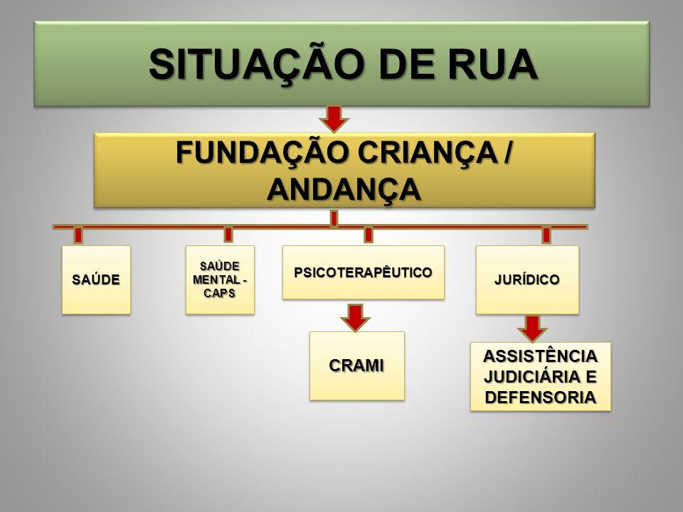 SITUAÇÃO DE RUA FUNDAÇÃO CRIANÇA / ANDANÇA SAÚDE MENTAL - CAPS PSICOTERAPÊUTICOPSICOTERAPÊUTICOJURÍDICOJURÍDICO ASSISTÊNCIA JUDICIÁRIA E DEFENSORIA CR