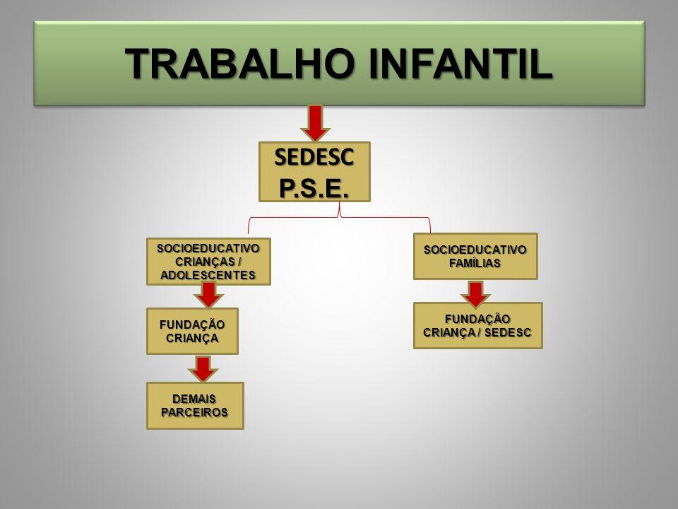 TRABALHO INFANTIL SEDESCP.S.E. SOCIOEDUCATIVO CRIANÇAS / ADOLESCENTES SOCIOEDUCATIVO FAMÍLIAS FUNDAÇÃO CRIANÇA DEMAIS PARCEIROS FUNDAÇÃO CRIANÇA / SED