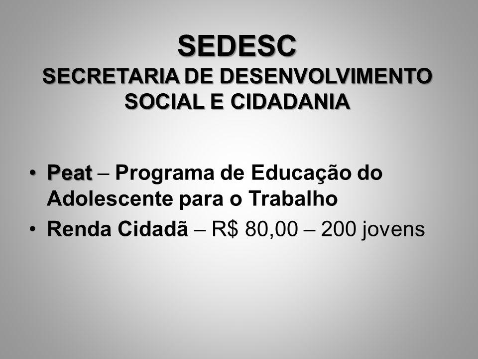 SEDESC SECRETARIA DE DESENVOLVIMENTO SOCIAL E CIDADANIA PeatPeat – Programa de Educação do Adolescente para o Trabalho Renda Cidadã – R$ 80,00 – 200 j