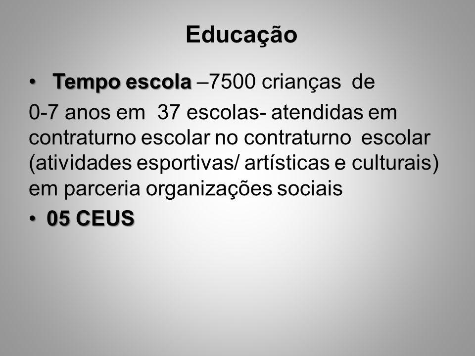 Tempo escola Tempo escola –7500 crianças de 0-7 anos em 37 escolas- atendidas em contraturno escolar no contraturno escolar (atividades esportivas/ ar