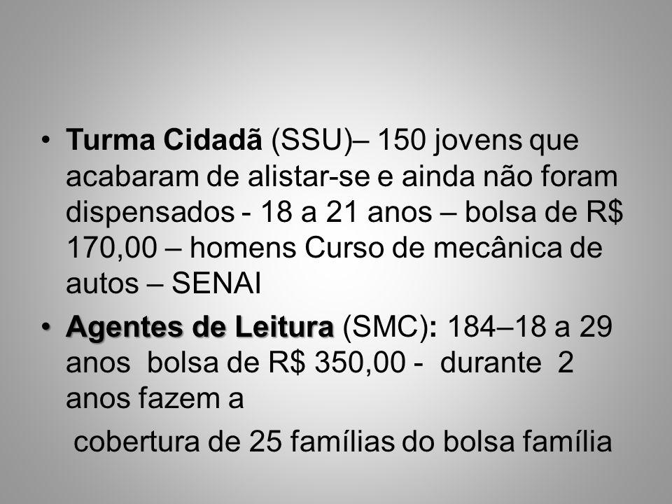 Turma Cidadã (SSU)– 150 jovens que acabaram de alistar-se e ainda não foram dispensados - 18 a 21 anos – bolsa de R$ 170,00 – homens Curso de mecânica