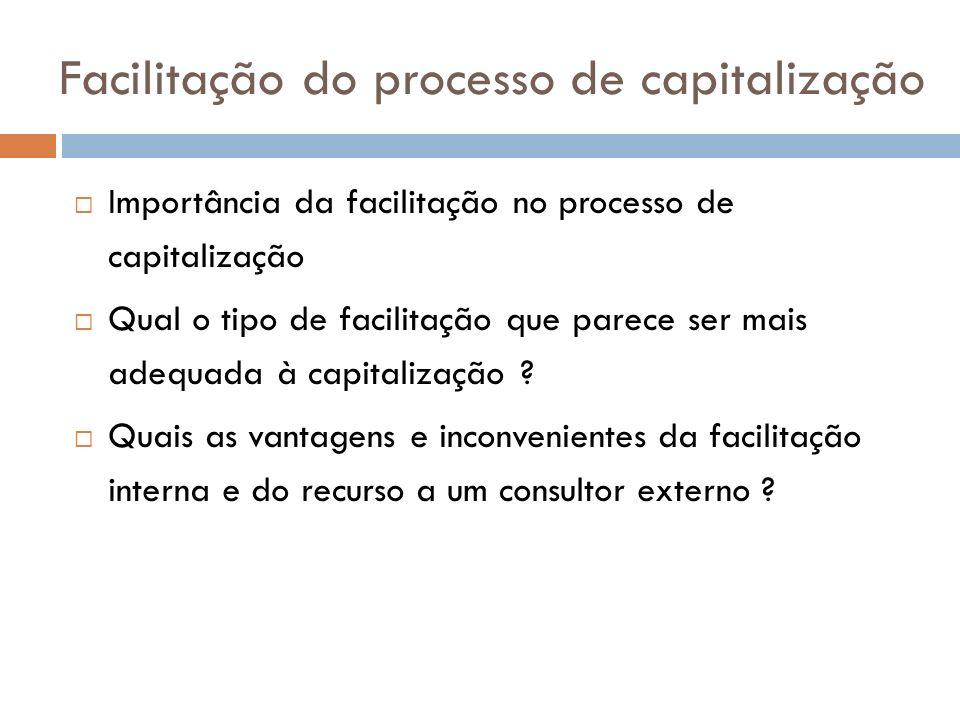 Facilitação do processo de capitalização Importância da facilitação no processo de capitalização Qual o tipo de facilitação que parece ser mais adequa
