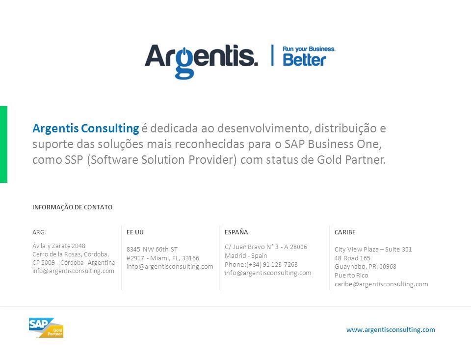 Argentis Consulting é dedicada ao desenvolvimento, distribuição e suporte das soluções mais reconhecidas para o SAP Business One, como SSP (Software Solution Provider) com status de Gold Partner.