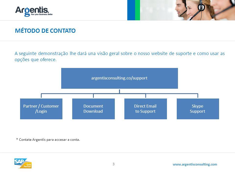 www.argentisconsulting.com MÉTODO DE CONTATO 3 A seguinte demonstração lhe dará una visão geral sobre o nosso website de suporte e como usar as opções que oferece.