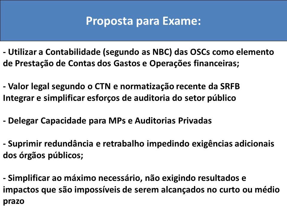 Proposta para Exame: - Utilizar a Contabilidade (segundo as NBC) das OSCs como elemento de Prestação de Contas dos Gastos e Operações financeiras; - V
