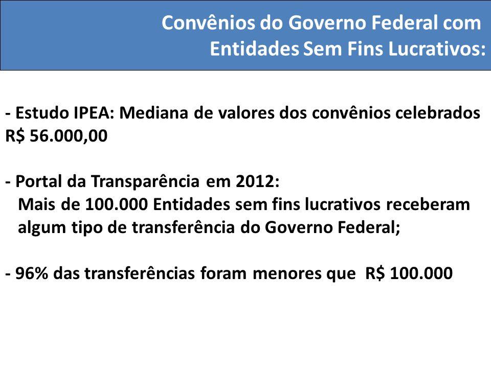 - Estudo IPEA: Mediana de valores dos convênios celebrados R$ 56.000,00 - Portal da Transparência em 2012: Mais de 100.000 Entidades sem fins lucrativ