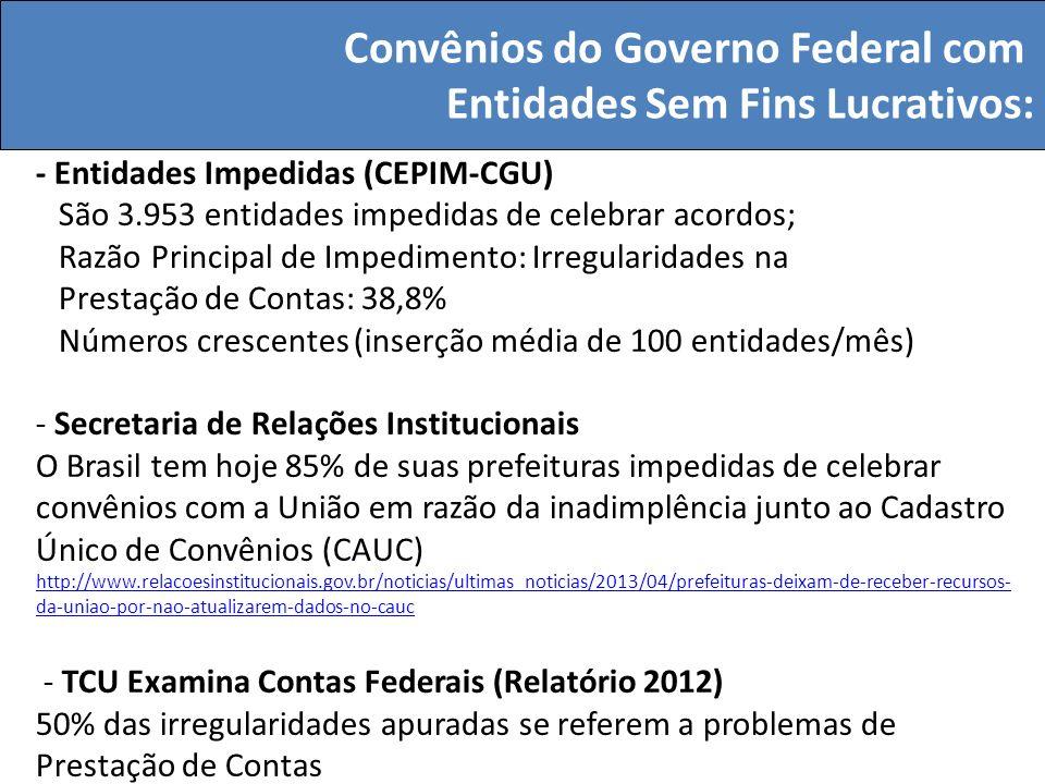 Convênios do Governo Federal com Entidades Sem Fins Lucrativos: - Entidades Impedidas (CEPIM-CGU) São 3.953 entidades impedidas de celebrar acordos; R