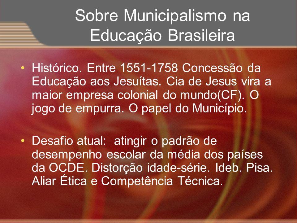 Sobre Municipalismo na Educação Brasileira Histórico. Entre 1551-1758 Concessão da Educação aos Jesuítas. Cia de Jesus vira a maior empresa colonial d