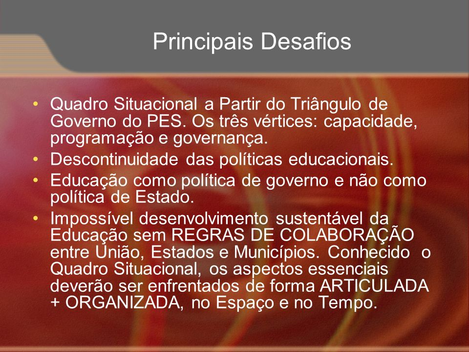 Principais Desafios Quadro Situacional a Partir do Triângulo de Governo do PES. Os três vértices: capacidade, programação e governança. Descontinuidad