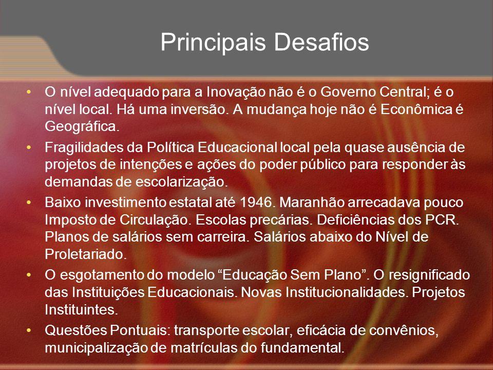 Principais Desafios O nível adequado para a Inovação não é o Governo Central; é o nível local. Há uma inversão. A mudança hoje não é Econômica é Geogr