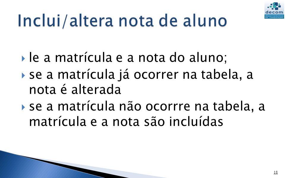 le a matrícula e a nota do aluno; se a matrícula já ocorrer na tabela, a nota é alterada se a matrícula não ocorrre na tabela, a matrícula e a nota sã
