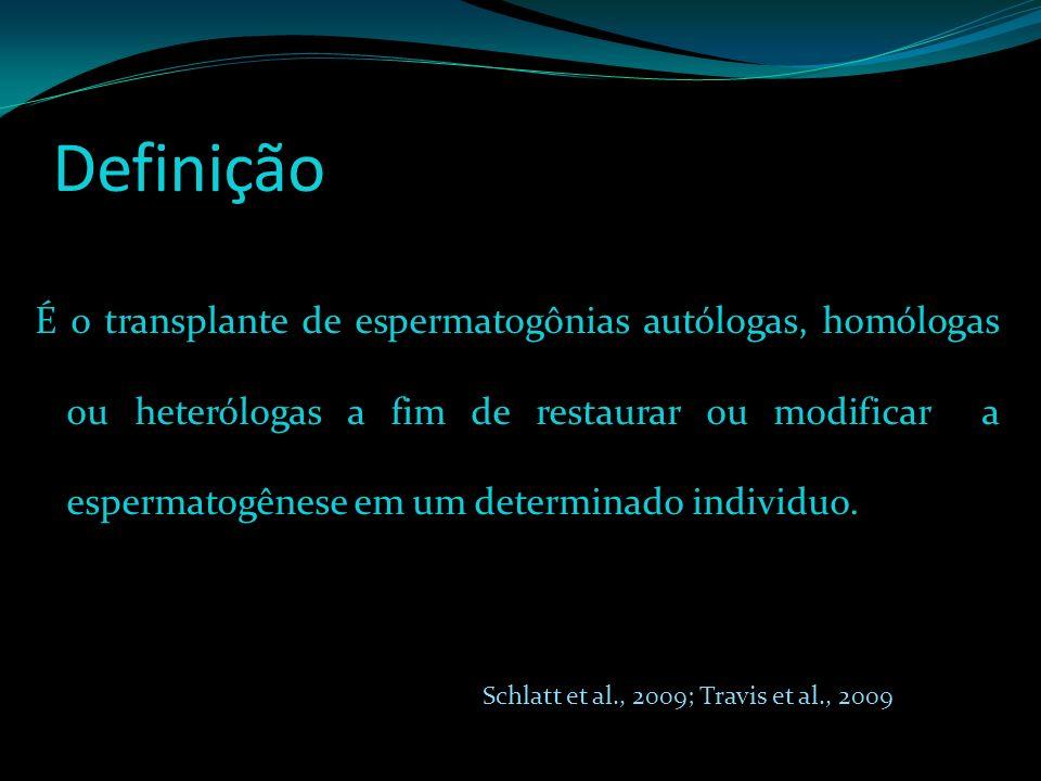 Definição É o transplante de espermatogônias autólogas, homólogas ou heterólogas a fim de restaurar ou modificar a espermatogênese em um determinado i