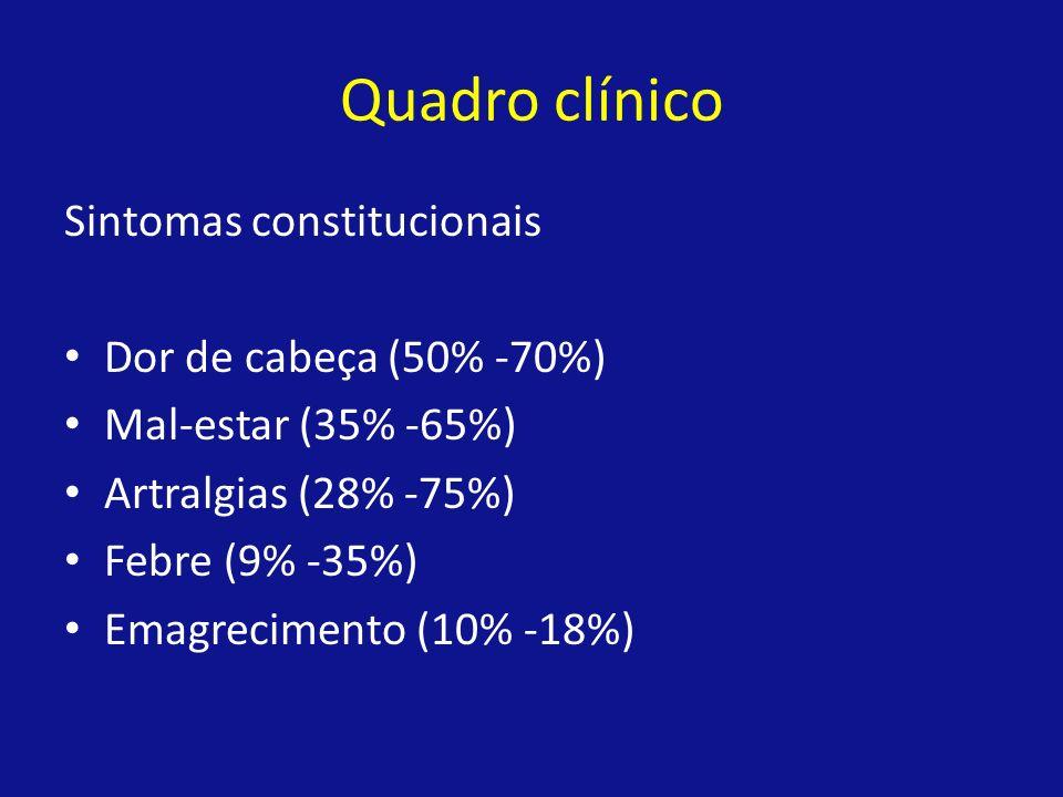 Quadro clínico Sintomas constitucionais Dor de cabeça (50% -70%) Mal-estar (35% -65%) Artralgias (28% -75%) Febre (9% -35%) Emagrecimento (10% -18%)