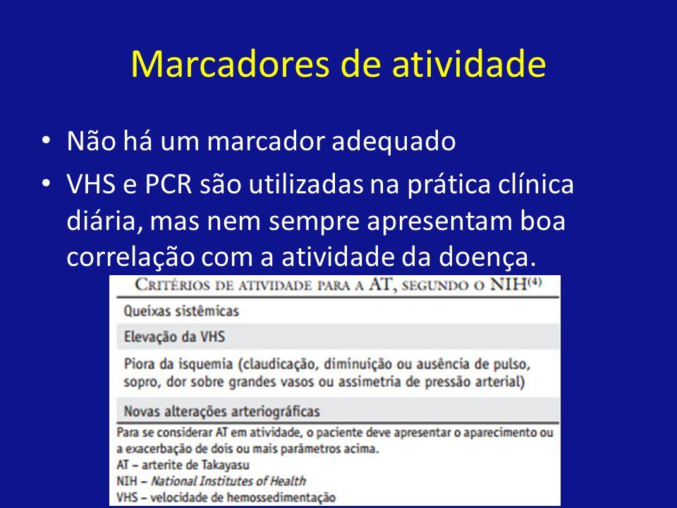 Marcadores de atividade Não há um marcador adequado VHS e PCR são utilizadas na prática clínica diária, mas nem sempre apresentam boa correlação com a