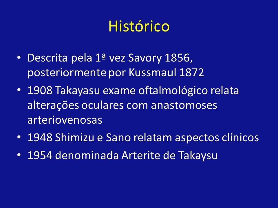 Histórico Descrita pela 1ª vez Savory 1856, posteriormente por Kussmaul 1872 1908 Takayasu exame oftalmológico relata alterações oculares com anastomo