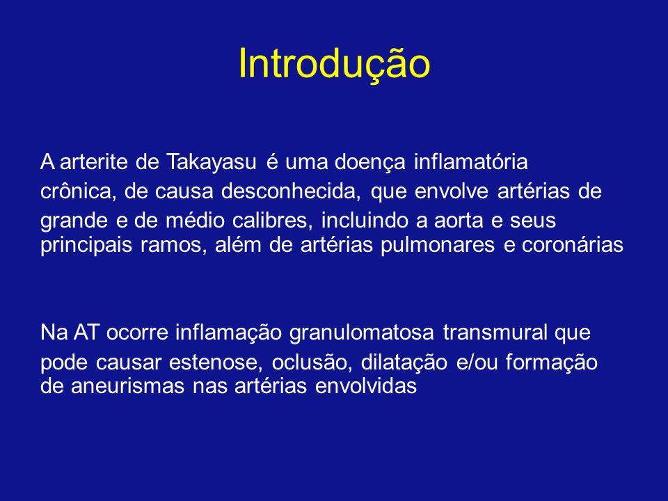 Introdução A arterite de Takayasu é uma doença inflamatória crônica, de causa desconhecida, que envolve artérias de grande e de médio calibres, inclui