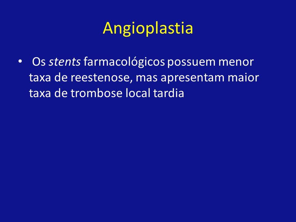 Angioplastia Os stents farmacológicos possuem menor taxa de reestenose, mas apresentam maior taxa de trombose local tardia
