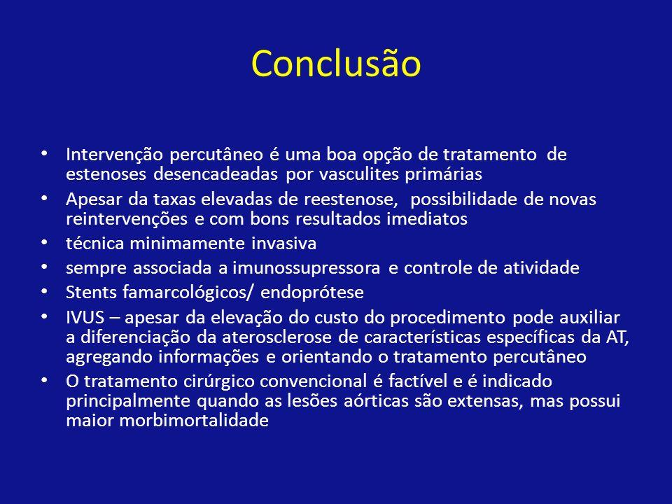 Conclusão Intervenção percutâneo é uma boa opção de tratamento de estenoses desencadeadas por vasculites primárias Apesar da taxas elevadas de reesten