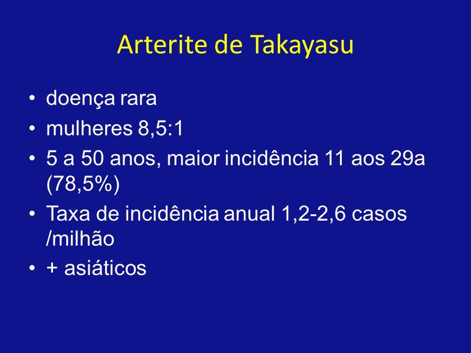 Histopatologia Panarterite com espessamento da adventícia, média íntima Acomete mais aorta ascendente, segmentos proximais das artérias que originam da croça Hipoplasia intimal proliferação intimal(reativo e secundário) Inflamação granulomatosa infiltrado céls mononucleares, leucócitos polimorfonucleares, céls gigantes multinucleadas na vasa vasorum engrossa, estenosa e oblitera fibrose Estenose se deve a contração fibrótica da adventícia e da média