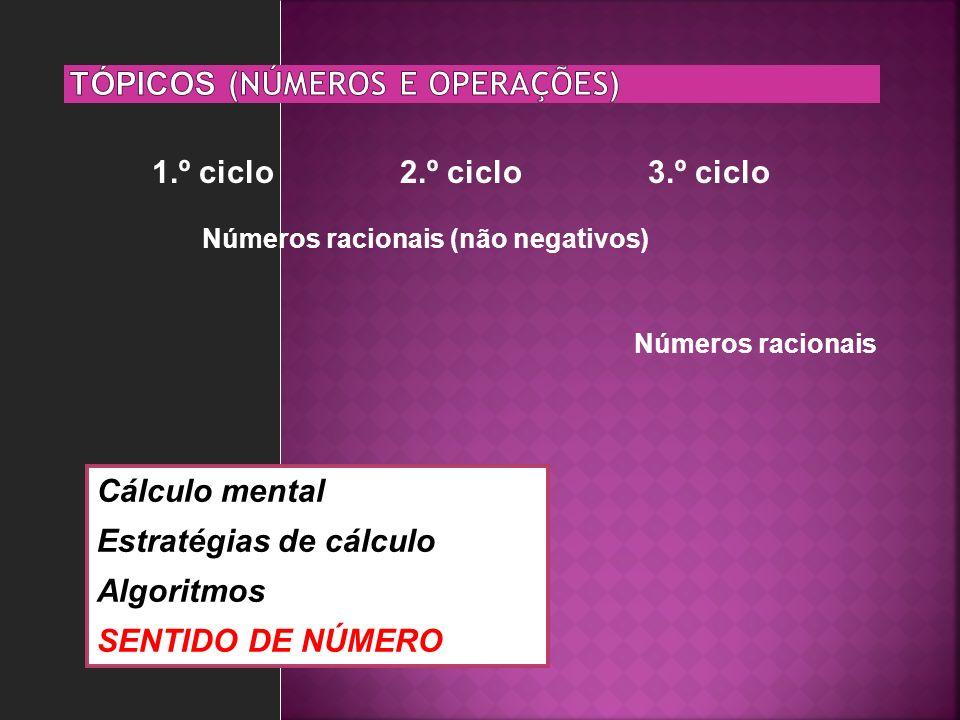 1.º ciclo2.º ciclo3.º ciclo Números racionais Números racionais (não negativos) Cálculo mental Estratégias de cálculo Algoritmos SENTIDO DE NÚMERO