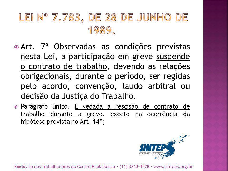 Art. 7º Observadas as condições previstas nesta Lei, a participação em greve suspende o contrato de trabalho, devendo as relações obrigacionais, duran