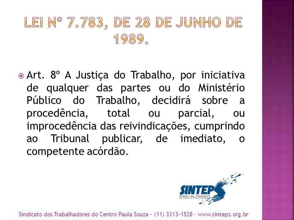 Art. 8º A Justiça do Trabalho, por iniciativa de qualquer das partes ou do Ministério Público do Trabalho, decidirá sobre a procedência, total ou parc