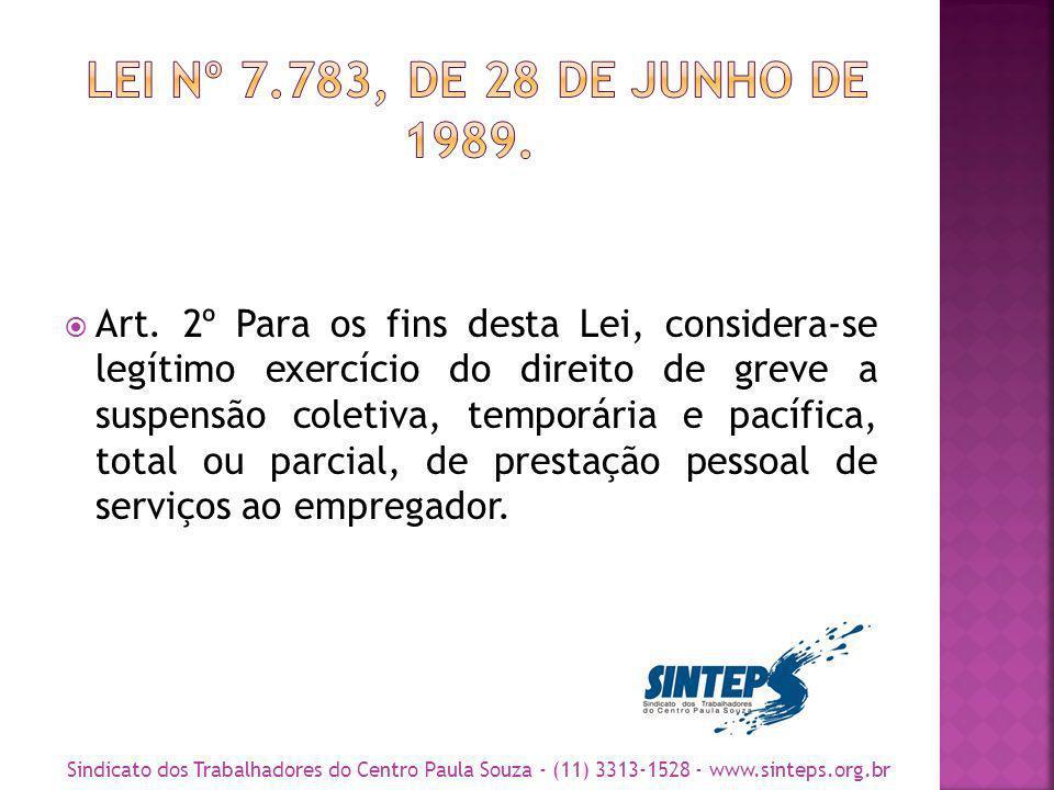 Art. 2º Para os fins desta Lei, considera-se legítimo exercício do direito de greve a suspensão coletiva, temporária e pacífica, total ou parcial, de
