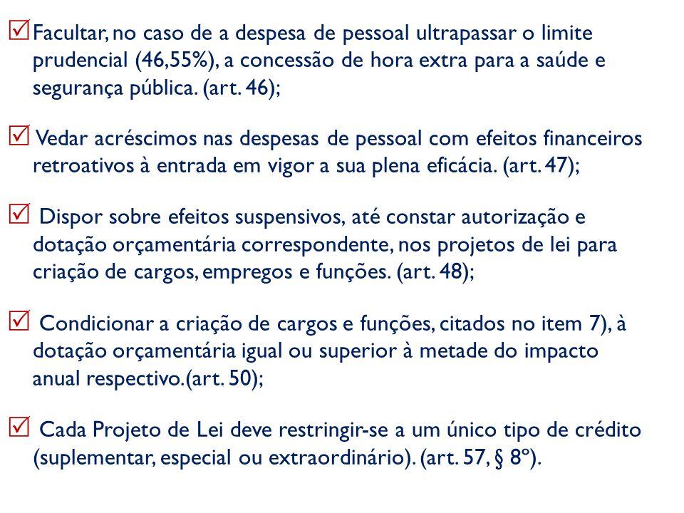 Facultar, no caso de a despesa de pessoal ultrapassar o limite prudencial (46,55%), a concessão de hora extra para a saúde e segurança pública. (art.